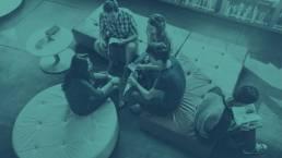 Grupo de lectura sepia azul